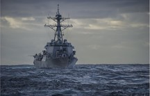 The Arleigh Burke-class guided-missile destroyer USS Roosevelt (DDG 80) at sea last month. US Navy SEALs operating off the Roosevelt seized the oil tanker, Morning Glory, late Sunday in international waters near Cyprus.
