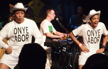 Breakdancers liven the set at the Onyeabor tribute concert.