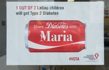 An ad from the pro-soda tax campaign in three Bay Area cities. Public health researchers say Berkeley's 2015 soda tax has reduced consumption of sugary drinks by 21 percent.