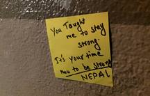 """The note reads, """"You taught me to stay strong. It's your time now to stay strong Nepal."""""""