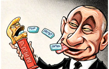 Putin holding a Prez dispenser with Trump's head on top of it. Putin clicks it and intelligence chunks come out.