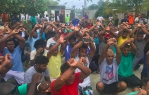 Some 600 asylum seekers at the Manus Island detention center in Papua New Guinea have refused to leave after Australian and Papua New Guinean officials formally shut down the camp and cut off power at the camp on October 31st.