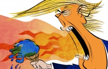 Trump's dragon breath melts the earth ice cream cone