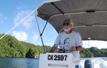 Pat Colin, a marine scientist at the Coral Reef Research Foundation, explores the waters off of the Pacific island nation of Palau for organisms to send to the National Cancer Institute in the U.S.
