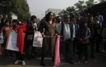 Pop singers Sona Mohapatra and Swanand Kirkire attending the rally