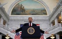 US President Donald Trump speaks at the Utah State Capitol, where he announced big cuts to Utah's sprawling wilderness national monuments, in Salt Lake City, Utah, Dec. 4, 2017.