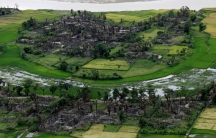 Aerial view of a burned Rohingya village near Maungdaw, north of Rakhine State, Myanmar, Sept. 27, 2017.