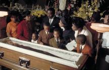 """Two months previously at Ebenezer Baptist Church, on Feb. 4, 1968, King gave his famous """"Drum Major"""" sermon. At his widow's request, King eulogized himself, with a recording of the """"Drum Major"""" sermon played at the funeral."""