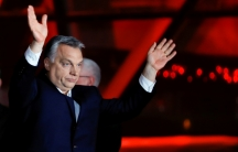 Hungarian Prime Minister Viktor Orban addresses the supporters after the announcement of the partial results of parliamentary election in Budapest