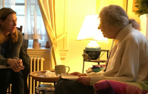 Kara Miller meets with Somerville-Cambridge Elder Services patient Louisa Solano to talk about what's on her iPod.