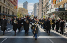 Brian Endlein (C), of the US Army Reserve 78th Army Band, leads the band in marching during the annual New York City Veterans Day Parade in New York, Nov. 11, 2017.