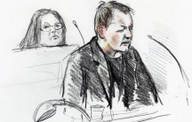 A courtroom sketch shows Peter Madsen during the trial regarding the killing of Swedish journalist Kim Wall, in Copenhagen, Denmark, on April 25, 2018.