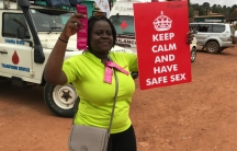 Diana Namumbejja Abwoye promoting condom use on the streets of Kampala