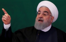 Iranian President Hassan Rouhani speaks during a meeting with Muslim leaders and scholars in Hyderabad, India.