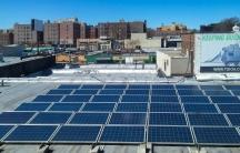 Rooftop solar panels in Queens.