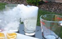 A refreshing glass of dry ice lemonade.