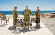 Marines take a smoke break at Camp America, Guantanamo Bay.
