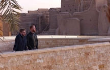 Aaron Dorfman and Todd Livingston of the Henhouse Prowlers scan the Diriyah Historical District (a UNESCO World Heritage site) in Riyadh, Saudi Arabia.
