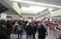 "Protestors gather at San Francisco International Airport to oppose Donald Trump's ""Muslim Ban."""