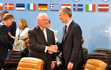 Secretary Tillerson Shakes Hands With NATO Secretary General Stoltenberg at NATO Foreign Ministerial in Brussels