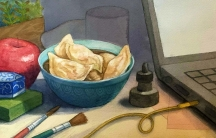 Painting of a bowl of dumplings next to laptop on a desk