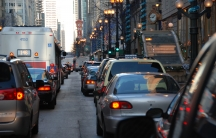 Nowhere for cars in downtown Chicago to go — even with green lights.