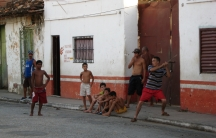 Children playing baseball in Cuba