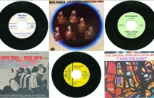 A selection of gospel records and album covers from the 1960s and '70s. Many gospel artists of this era used the B-sides of their 45s for civil rights anthems.