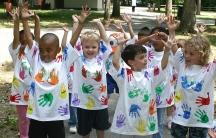 Children at a school picnic.