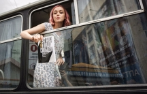 Olga Tochenaya on a police bus during anti-corruption protests in Russia