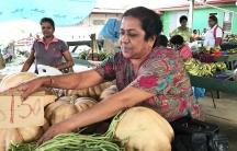 Sunila Wati at her vegetable stall in the market in Rakiraki, Fiji