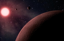 An artist's concept of a planetary system discovered by Kepler, called KOI-961.