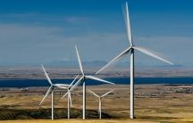 A wind farm in Power County, Idaho.