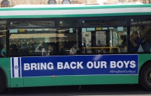 Israel's largest bus company plastered buses with big ads featuring the #BringBackOurBoys slogan.