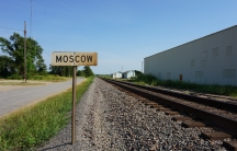 A railroad track in Moscow, Arkansas.