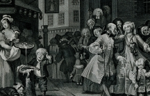 Pious Huguenots are shown leaving church in the squalor of London in William Hogarth's 'Noon'