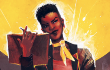 Comic still of woman against yellow backdrop holding up a book and pen