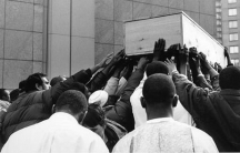 Dwayne R. Rodgers, an independent artist and curator in Brooklyn, took this photograph of Amadou Diallo's funeral procession in New York City in 1999. Rodgers was photographing a series on police brutality in the city.