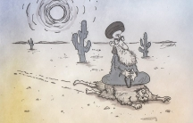 A cartoon drawn by Iranian American satirist Saman Arbabi about the nuclear aspirations of Iranian leaders.
