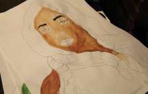 An unfinished painting of a woman