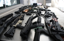 A cache of weapons seized from a vehicle from an outbound (southbound) examination at Del Rio International Bridge as seen in this U.S. Customs and Border Protection (CBP) handout photograph taken February 1, 2011. U.S. customs agents in Texas seized 14 h