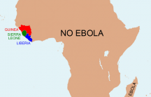 A satirical map created by Anthony England to show people around the world how little of Africa has been affected by the Ebola outbreak.