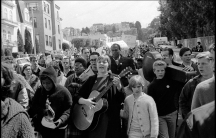 Barbara Dane singing at a protest in 1964.