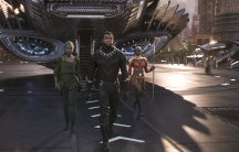 """Marvel Studios' """"Black Panther."""" L to R: Nakia (Lupita Nyong'o), T'Challa/Black Panther (Chadwick Boseman) and Okoye (Danai Gurira)."""