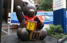 The FAO Schwarz bear landed at the Floating Hospital for Children at the Tufts Medical Center after the company's Boston store was closed in 2004.