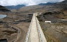 Bolivia's dried-out Ajuan Khota dam, a reservoir affected by drought near La Paz, photographed on Nov. 17.
