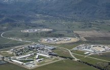 aerial photo of large complex in foothills