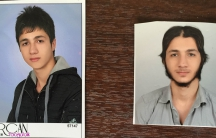 Two ID pictures of Orhan Gönder, taken a year apart. His family says they show the transformation of the teenager from a high school senior to an ISIS recruit.