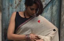 """Deepa Mehta's """"Deck of Cards"""" sari."""