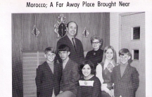 A photo from the yearbook:  My mother, Khadija Ouannane and the Davises, her American family in Bloomer, Wisconsin. The youngest brother couldn't say her name, so they all called her Katy.